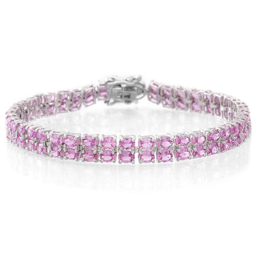 Limited Available - Pink Sapphire (Ovl), Natural White Cambodian Zircon Bracelet (Size 7.5) in Sterling Silver 16.750 Ct. Silver wt. 10.50 Gms.