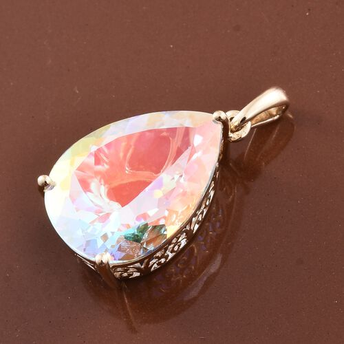 Limited Edition - 9K Y Gold Mercury Mystic Topaz (Pear) Pendant 18.750 Ct.