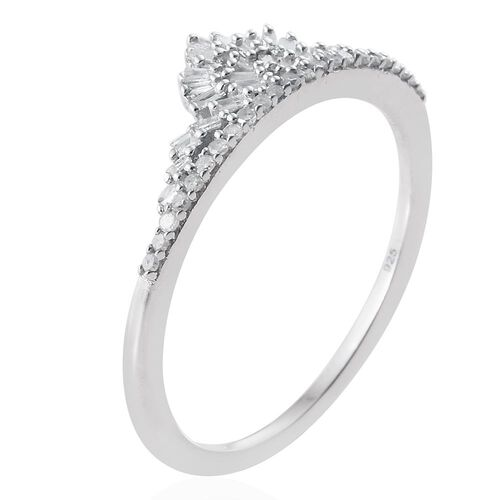 New Concept - Designer Inspired - Diamond (Bgt) Crown Ring in Platinum Overlay Sterling Silver 0.250 Ct.