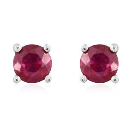 1 Carat African Ruby Stud Earrings in Platinum Plated Silver (with Push Back)