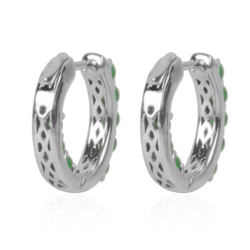 Green Jade (Rnd) Hoop Earrings (with Clasp Lock) in Rhodium Plated Sterling Silver 3.200 Ct. Silver wt 6.00 Gms.