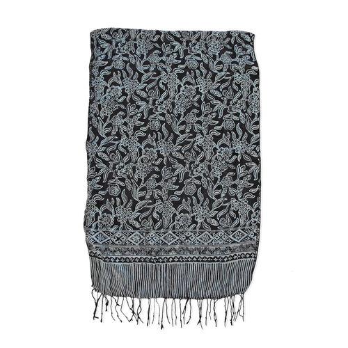 Grey and Black Colour Batik Print 100% Silk Scarf (Size 150x45 Cm)