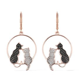 Black Diamond Twin Cat Lever Back Earrings in Rhodium and Rose Gold Plated Silver