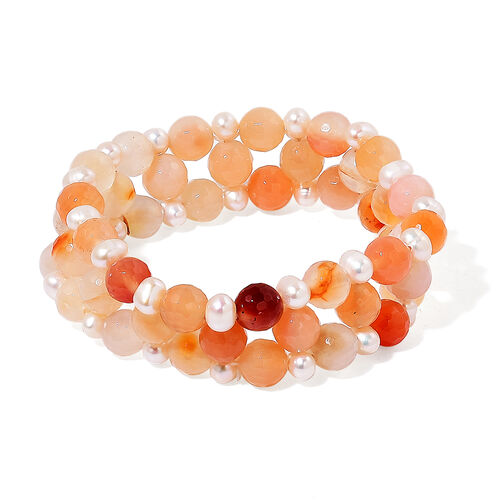 Pink Agate and Fresh Water White Pearl Stretchable Bracelet (Size 7.5) 185.000 Ct.
