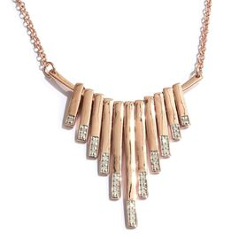 Diamond 0.15 Ct Silver Waterfall Necklace in Rose Gold Overlay (Size 18) I4/I