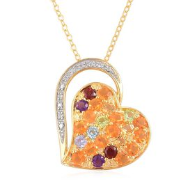 Jalisco Fire Opal (Rnd), Citrine, Swiss Blue Topaz, Mozambique Garnet, Amethyst, White Zircon and Multi GemStone Heart Pendant with Chain in Yellow Gold Overlay Sterling Silver 1.500 Ct.