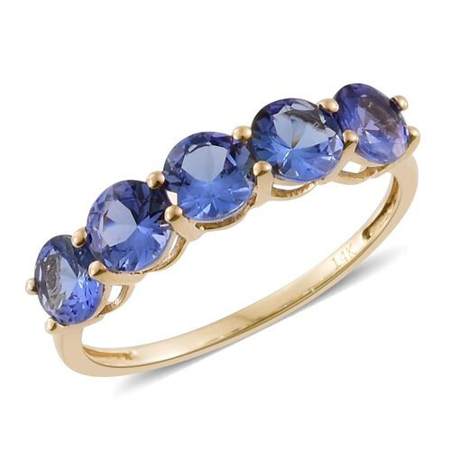14K Y Gold AAA Tanzanite (Rnd) 5 Stone Ring 2.250 Ct.