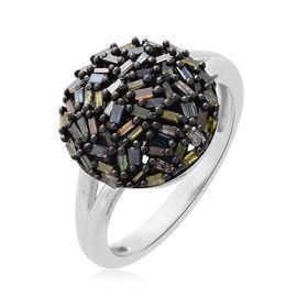Designer Inspired- Rainbow Diamond Fireworks Ring in Black Rhodium and Platinum Overlay Sterling Silver Diamond Wt. 0.500 Ct.