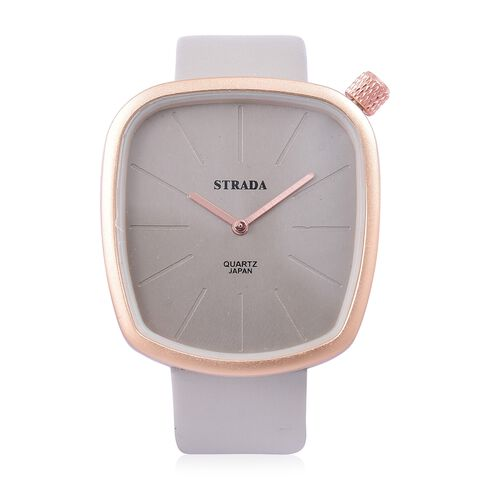 STRADA Japanese Movement Water Resistant Watch in Champagne Gold Tone with Stainless Steel Back and Grey Colour Strap