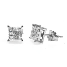 One Time Close Out-9K W Gold Diamond (Princess Cut) Stud Earrings 0.500 Ct.