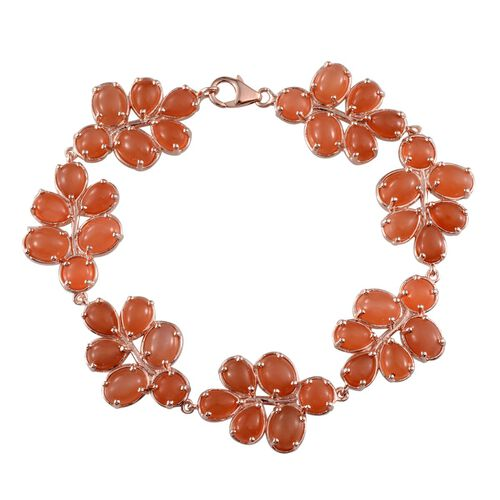 Mitiyagoda Peach Moonstone (Ovl) Bracelet in Rose Gold Overlay Sterling Silver (Size 7.5) 40.000 Ct.
