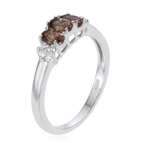 Jenipapo Andalusite (Ovl 0.65 Ct), Natural Cambodian Zircon Ring in Platinum Overlay Sterling Silver 0.750 Ct.