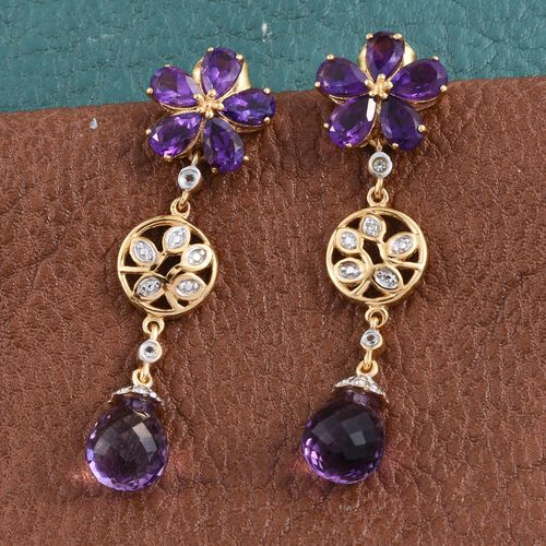 Amethyst, White Topaz Floral Earrings (with Push Back) in 14K Gold Overlay Sterling Silver 12.000 Ct.