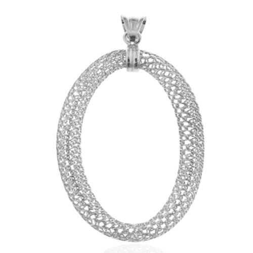 Rhodium Plated Sterling Silver Oval Pendant, Silver wt. 3.77 Gms.