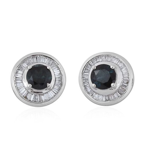 ILIANA 18K White Gold AAA Monte Belo Indicolite (Rnd), Diamond (SI/G-H) Stud Earrings (with Screw Back) 1.250 Ct.