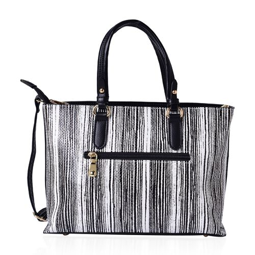 MANHATTAN COLLECTION Noho Stripe Pattern Tote Bag with Removable Shoulder Strap (Size 31x22.5x12 Cm)