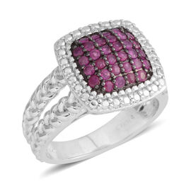 Close Out Deal- Mozambique Ruby (Rnd) Pave Set Ring with Black Rhodium in Sterling Silver 1.000 Ct. Silver wt 5.50 Gms.