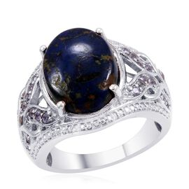 Designer Collection Azurite (Ovl 7.86 Ct), Tanzanite and Diamond Ring in Platinum Overlay Sterling Silver 8.630 Ct.
