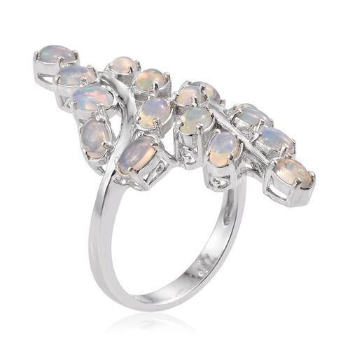 Ethiopian Welo Opal (Ovl) Leaves Crossover Ring in Platinum Overlay Sterling Silver 3.000 Ct.