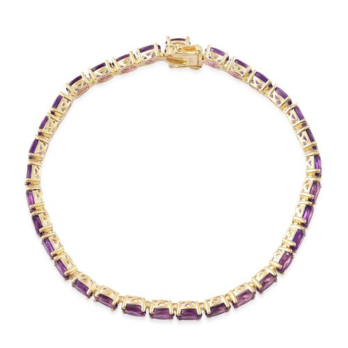 Amethyst (Ovl) Bracelet (Size 7.5) in Yellow Gold Overlay Sterling Silver 13.500 Ct.