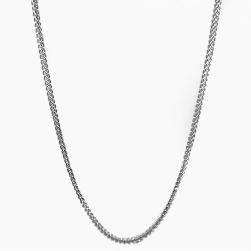 Vicenza Collection 9K White Gold Franco Necklace (Size 18), Gold wt 3.75 Gms.