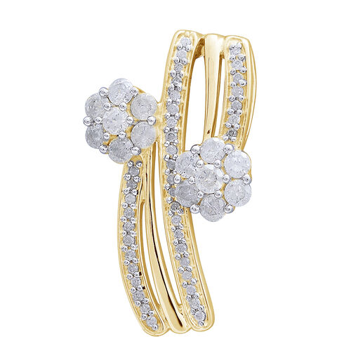 9K Yellow Gold SGL Certified Diamond (Rnd) (I3 G-H) Twin Floral Pendant 1.000 Ct.