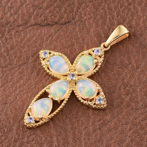 Ethiopian Welo Opal (Pear), Tanzanite Pendant in 14K Gold Overlay Sterling Silver 3.000 Ct.