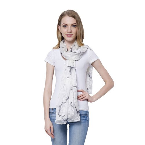 100% Mulberry Silk Calla Lily Pattern Black and White Colour Scarf (Size 170x110 Cm)