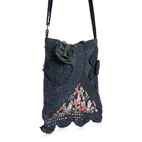 New For Season - 100% Cotton Multi Colour Floral and Leaves Printed Square Shape Black Colour Shoulder Bag (Size 30x25 Cm)