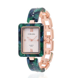 STRADA Japanese Movement White Austrian Crystal Studded Dial Watch in Rose Gold Tone with Dark Green Colour Strap