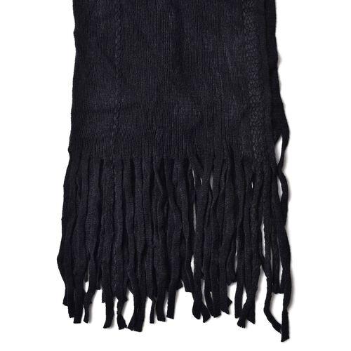 Black Colour Scarf with 25 Cm Long Fringes (Size 150x50 Cm)
