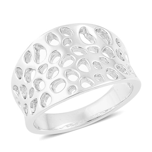 RACHEL GALLEY Rhodium Plated Sterling Silver Lattice Band Ring, Silver wt. 4.41 Gms.