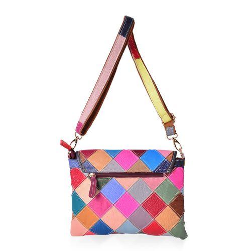 Designer Inspired - 100% Genuine Leather Art Patchwork Top Handle Bag with Adjustable and Removable Shoulder Strap (Size 28X21.5 Cm)