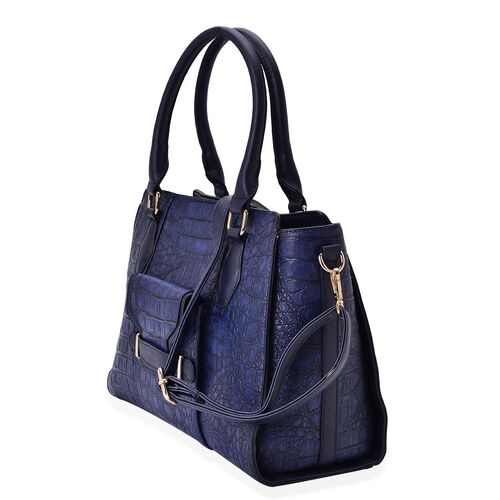Limited Collection Crock Embossed Blue Tote Bag with External Zipper Pocket and Adjustable and Removable Shoulder Strap (Size 34x26x14 Cm)