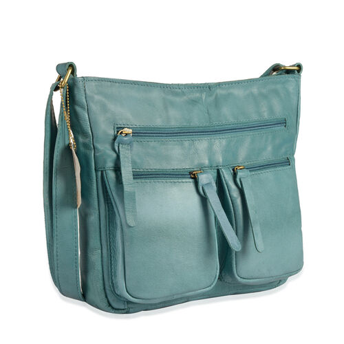 100% Genuine Leather RFID Blocker Light Turquoise Colour Sling Bag with External Pockets and Adjustable Shoulder Strap (Size 28X24X5 Cm)