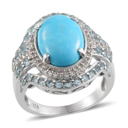 Arizona Sleeping Beauty Turquoise (Ovl 4.25 Ct), Electric Swiss Blue Topaz and White Topaz Ring in Platinum Overlay Sterling Silver 5.500 Ct.