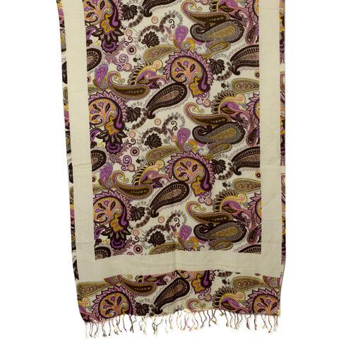 100% Wool Brown Colour Paisley Pattern Scarf (Size 70x180 Cm)