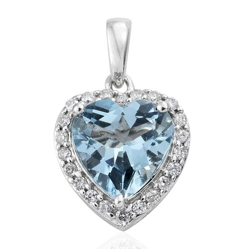 Collectors Edition-14K White Gold Santa Maria Aquamarine (Hrt 2.00 Ct), Diamond Pendant 2.150 Ct.