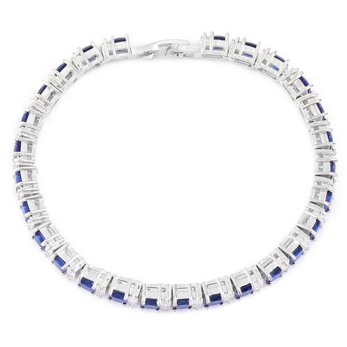 AAA Simulated Tanzanite and Simulated White Diamond Bracelet (Size 7.5) in Silver Tone