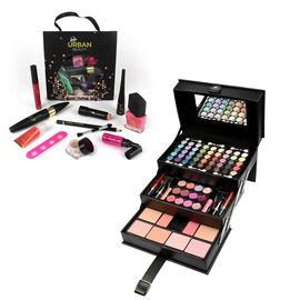 Make Up Hamper - 82 Piece Tiered Black Beauty Case (Size 23x23x15 Cm) With Free 10 Piece Goodie Bag!
