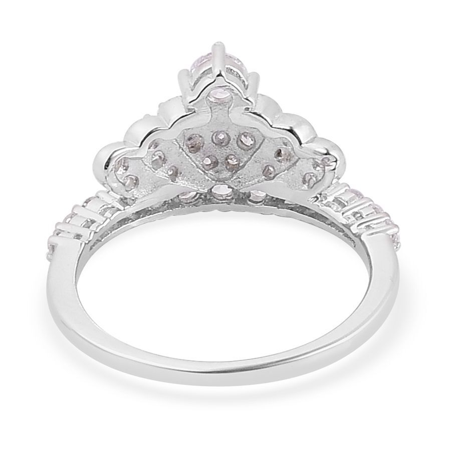 elanza aaa simulated white crown ring in rhodium