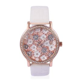 STRADA Japanese Movement White and Grey Colour Enameled Flower Dial Water Resistant Watch with White Austrian Crystal in Rose Gold Tone with White Colour Strap
