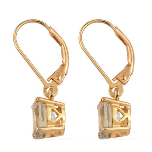 Green Amethyst (Ovl) Lever Back Earrings in 14K Gold Overlay Sterling Silver 2.250 Ct.