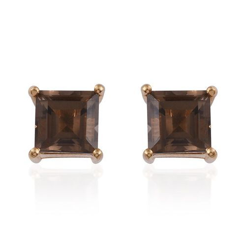 Brazilian Smoky Quartz (Sqr) Stud Earrings (with Push Back) in 14K Gold Overlay Sterling Silver 2.750 Ct.