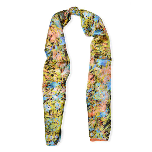 100% Mulberry Silk Orange and Multi Colour Leaves and Floral Pattern Blue Colour Scarf (Size 180x110 Cm)