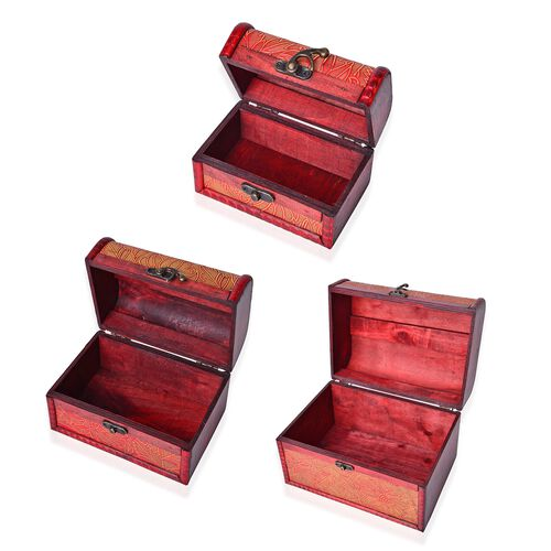 Set of 3 - Handcrafted Orange Colour Floral Pattern Vintage Style Jewellery Box (Large 22X16X15.5 Cm), (Medium 16X11X10.5 Cm) and (Small 12X7.5X7.5 Cm)