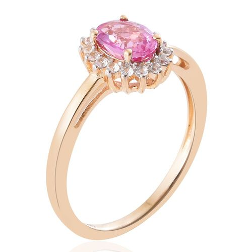 9K Yellow Gold 0.98 Ct AA Pink Sapphire Ring with Natural Cambodian Zircon
