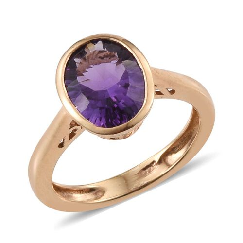 AA Brazilian Amethyst (Ovl) Solitaire Ring in 14K Gold Overlay Sterling Silver 2.250 Ct.