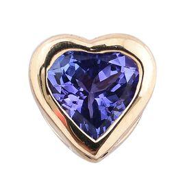 14K Yellow Gold 0.75 Carat AA Tanzanite Solitaire Heart Pendant