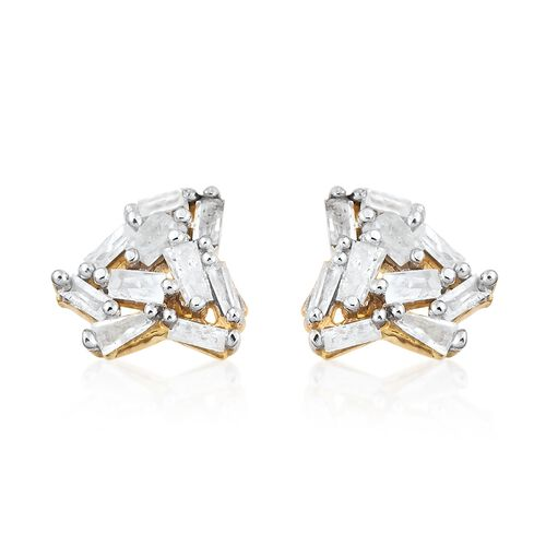 Diamond (Bgt) Stud Earrings (with Push Back) in 14K Gold Overlay Sterling Silver 0.25 Ct.